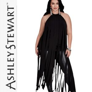 ASHLEY STEWART FRINGED HALTER **NWT**